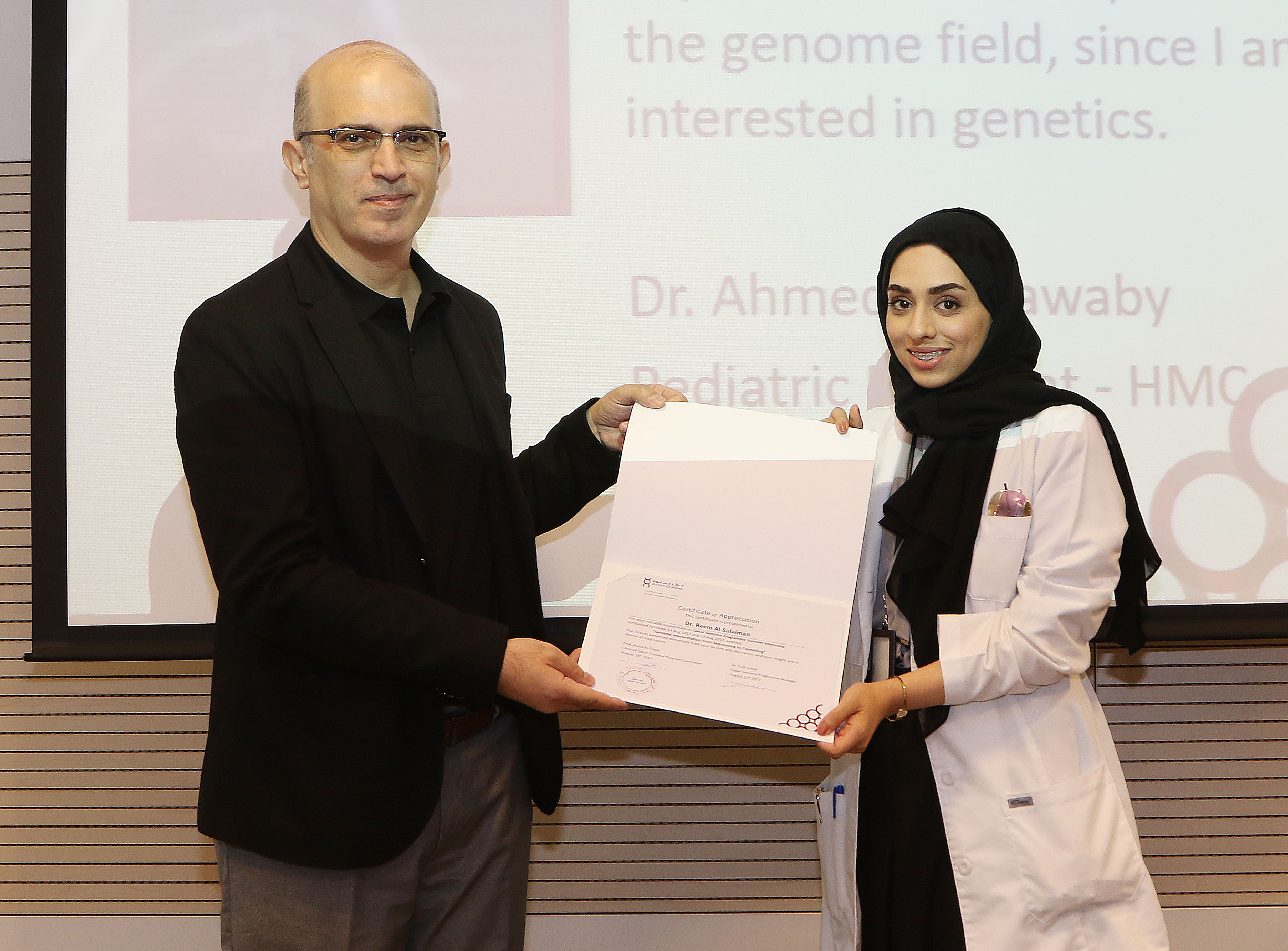 Thanking Dr. Reem AlSulaiman from NCCCR for lecturing on Genetic Counseling